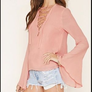 Forever 21 Lace Up Blouse